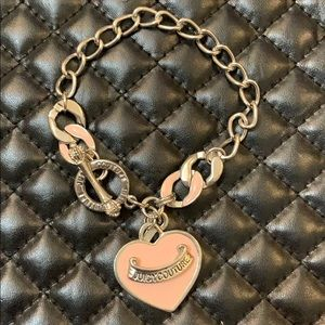 Juicy Couture Jewelry - Juicy Couture Silver Pink Chain Charm Bracelet